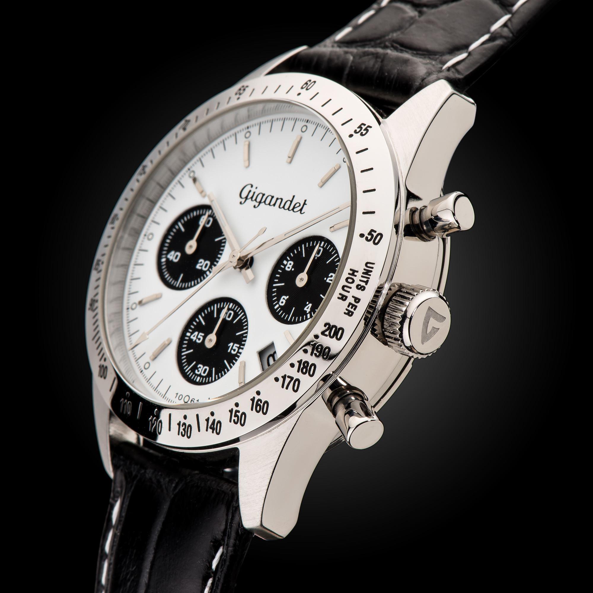G5 001 Herren Chronograph Gigandet Race King Datum Weiß Armbanduhr Lederband 5Jc3F1luTK