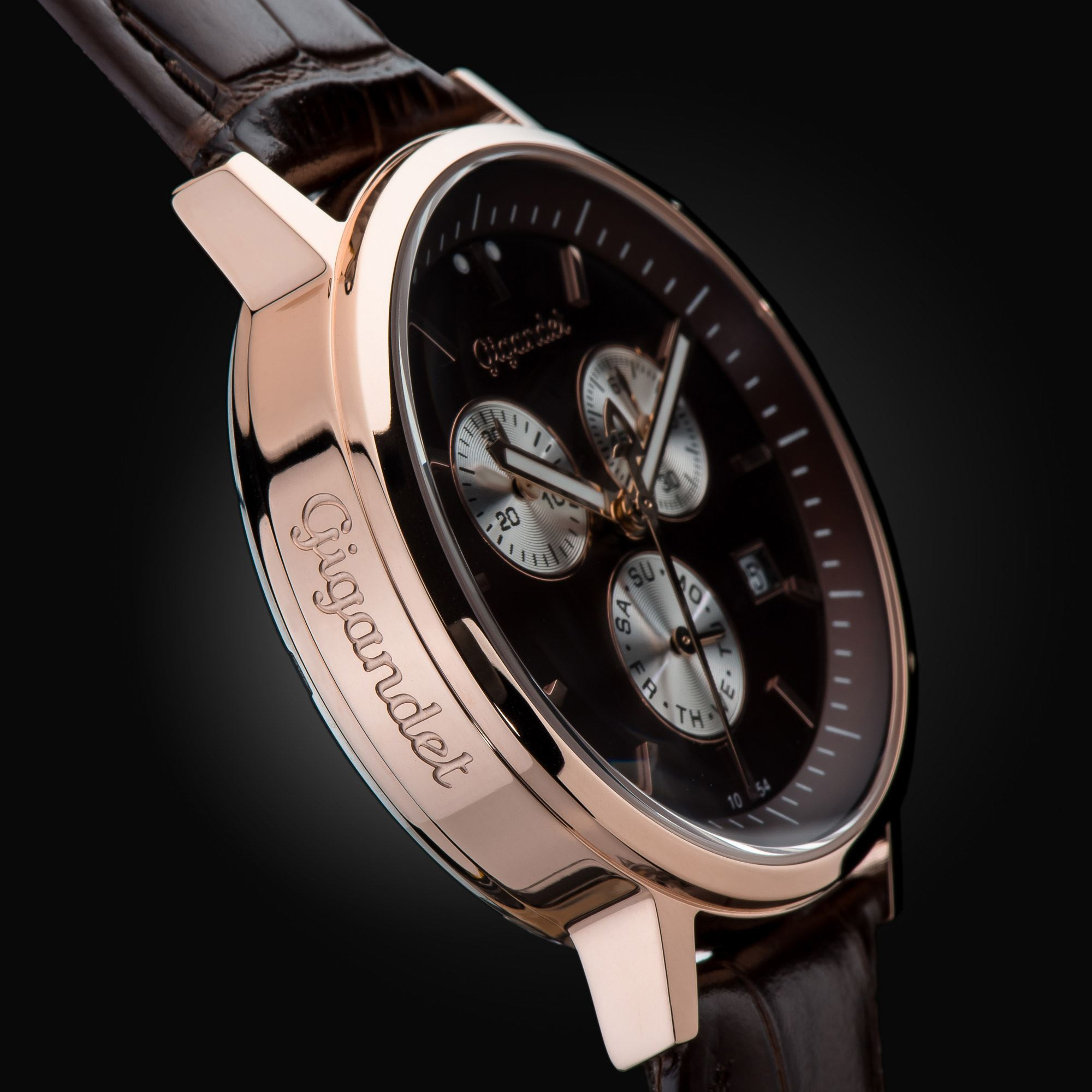 Gigandet classico uhr chronograph datum lederarmband braun for Ebay classico