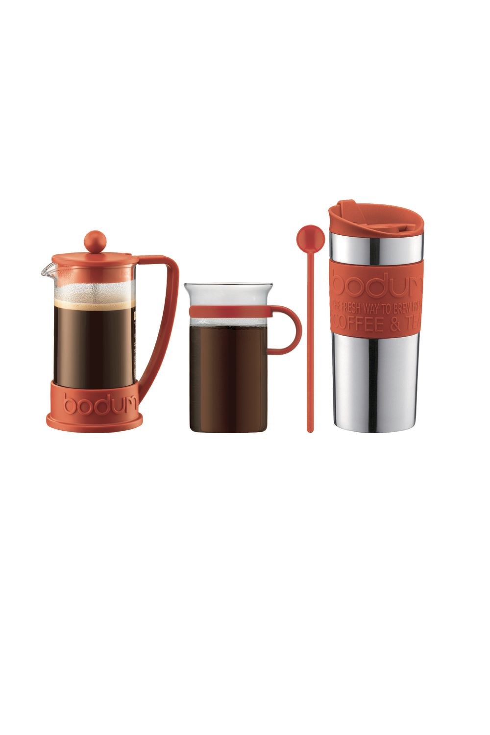 bodum kaffeeset brazil 4 teilig kaffeebereiter tasse reisebecher rot k10948 294. Black Bedroom Furniture Sets. Home Design Ideas